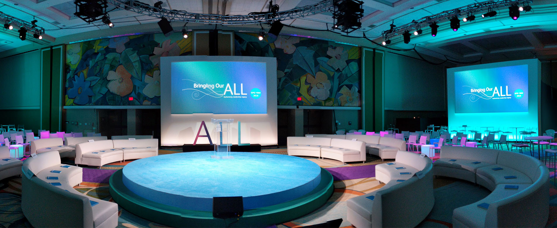 event staging and production - round stage
